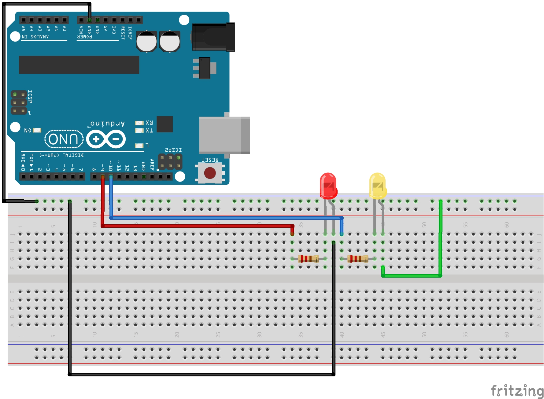 Arduino Blink Two LEDs Alternatively