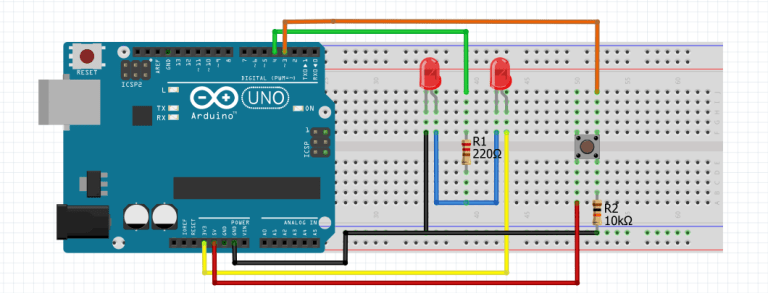 Arduino Flip-Flop Blinking LED With Push Button