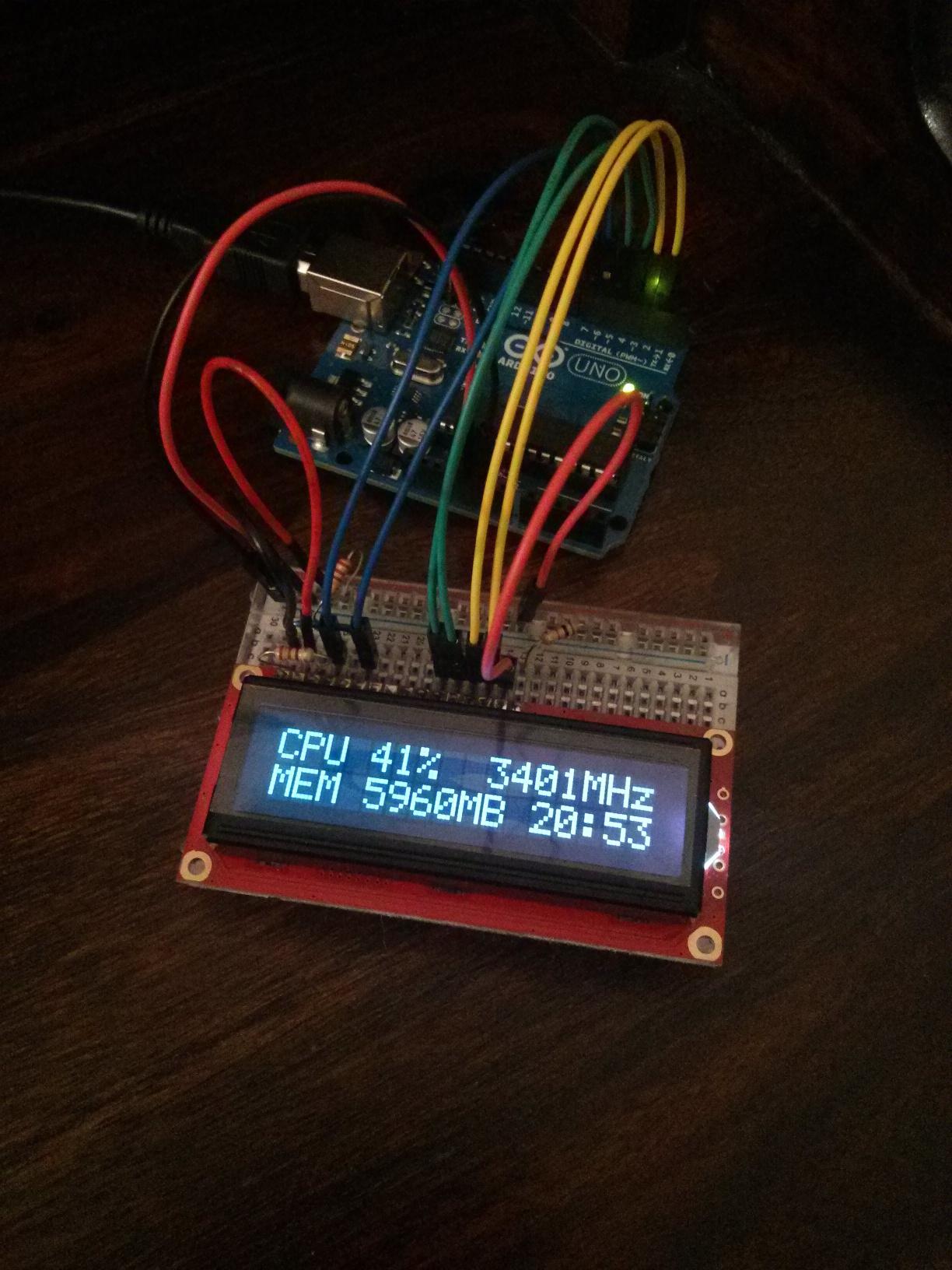 Arduino LCD CPU RAM Monitor