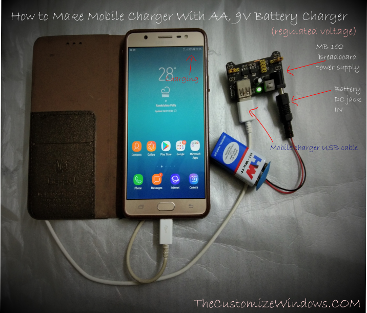 How to Make Mobile Charger With AA 9V Battery