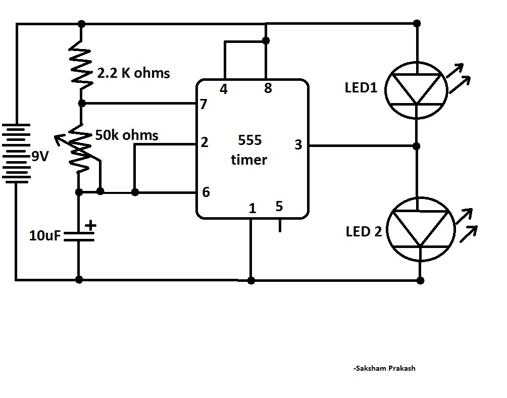 Blink Two LEDs Alternatively With 555 IC