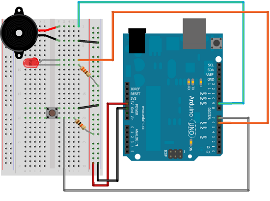 Arduino Blink LED and Beep Every X Seconds Upon Push Button Press