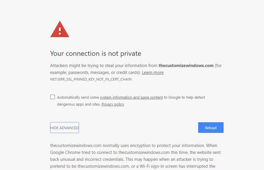 Solve NET ERR SSL PINNED KEY NOT IN CERT CHAIN