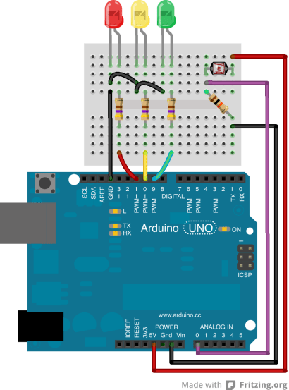 Arduino Turn On Particular Color LED Depending On Light LDR