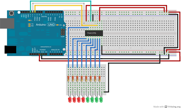 How To Connect 74HC595 Shift Register With Arduino