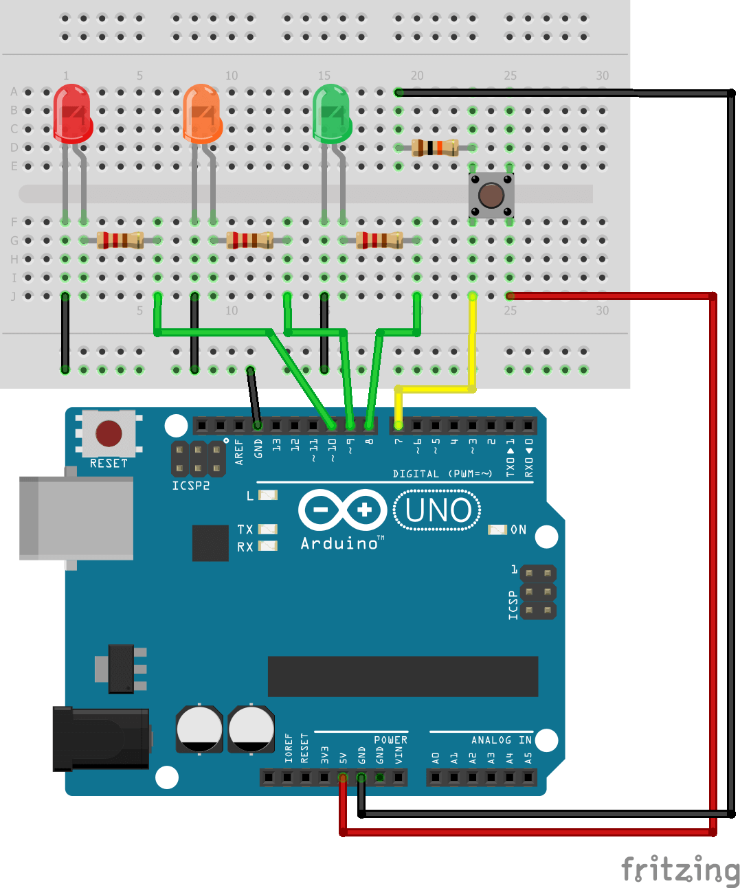 Arduino 3 LED and One Push Button