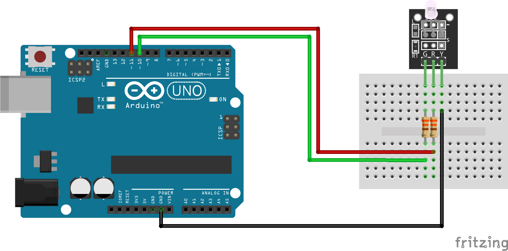 Arduino 3 Leg Bicolor LED Wiring and Code