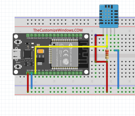 ESP32 Arduino with DHT11 Sensor : Connection & Code
