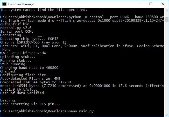 ESP32 MicroPython Setup with Adafruit Ampy