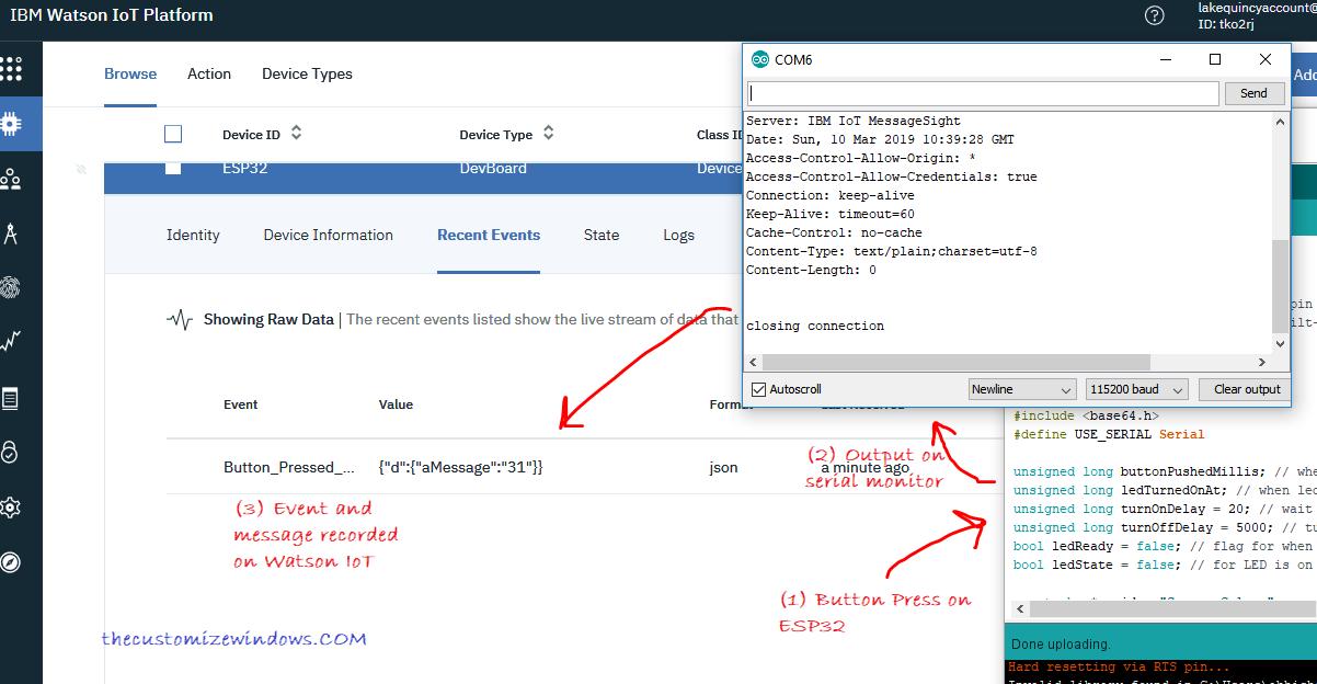 Arduino ESP32 HTTPS POST Request to IBM Watson IoT on Button Press