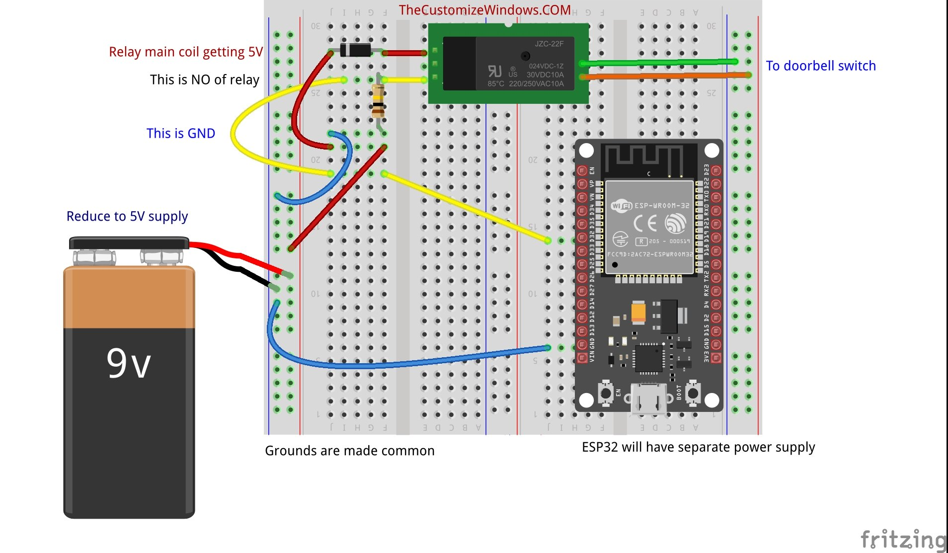 How to Interface Connect Doorbell Switch with Arduino ESP32 Pushbutton