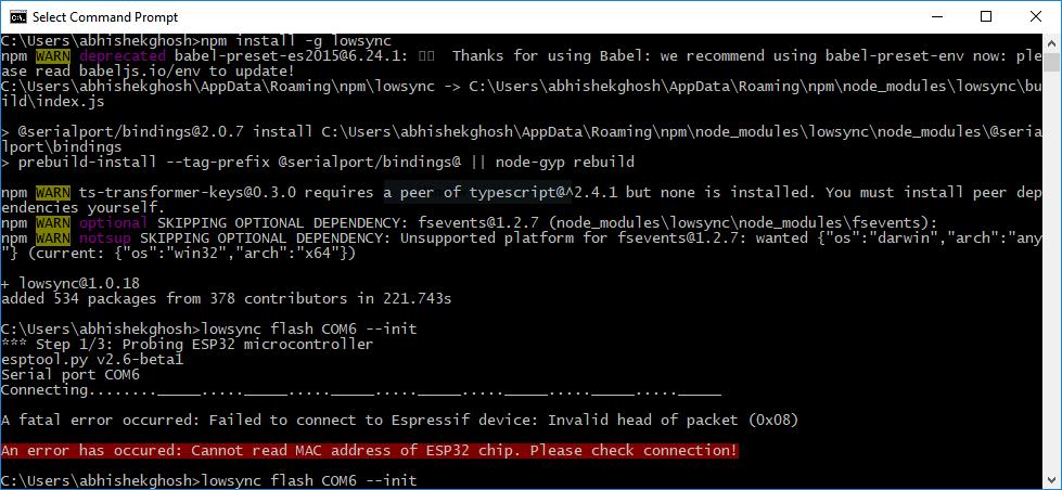 How to Setup Node-js low-js on Windows for ESP32