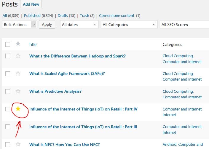 WordPress Admin Post List Marker