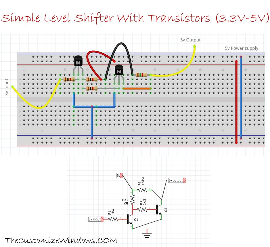 Simple Level Shifter With Transistors 3-3V-5V