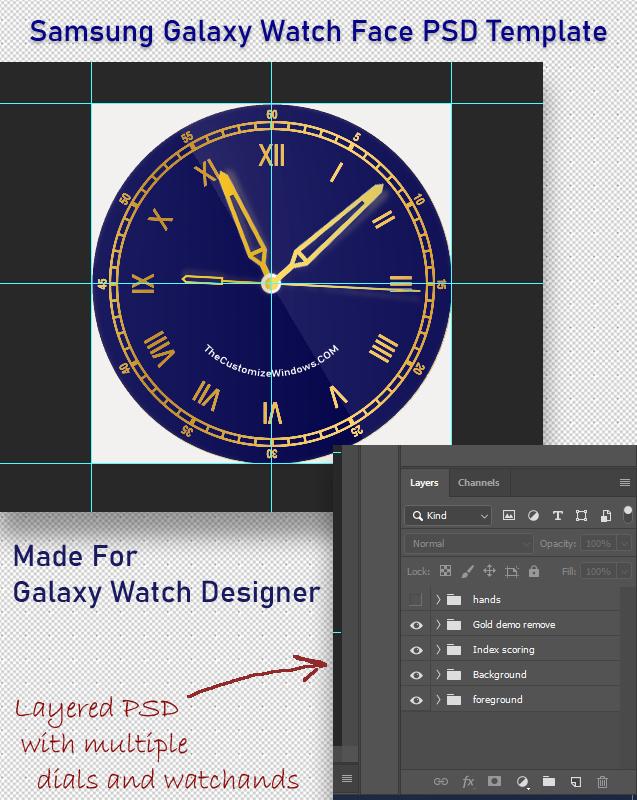 Samsung Galaxy Watch Face PSD Template