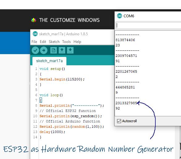 ESP32 as Hardware Random Number Generator