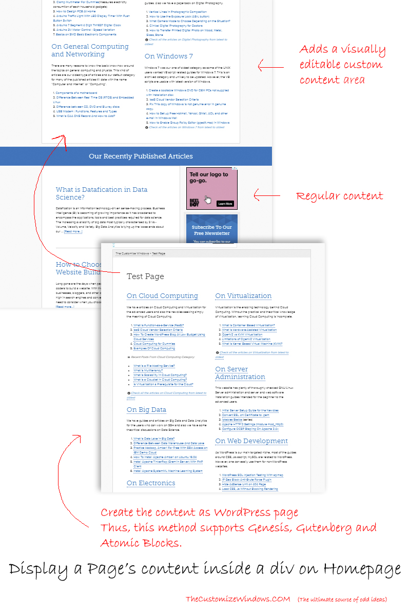 WordPress Genesis Semi-static Home Page with Static Content From a Page