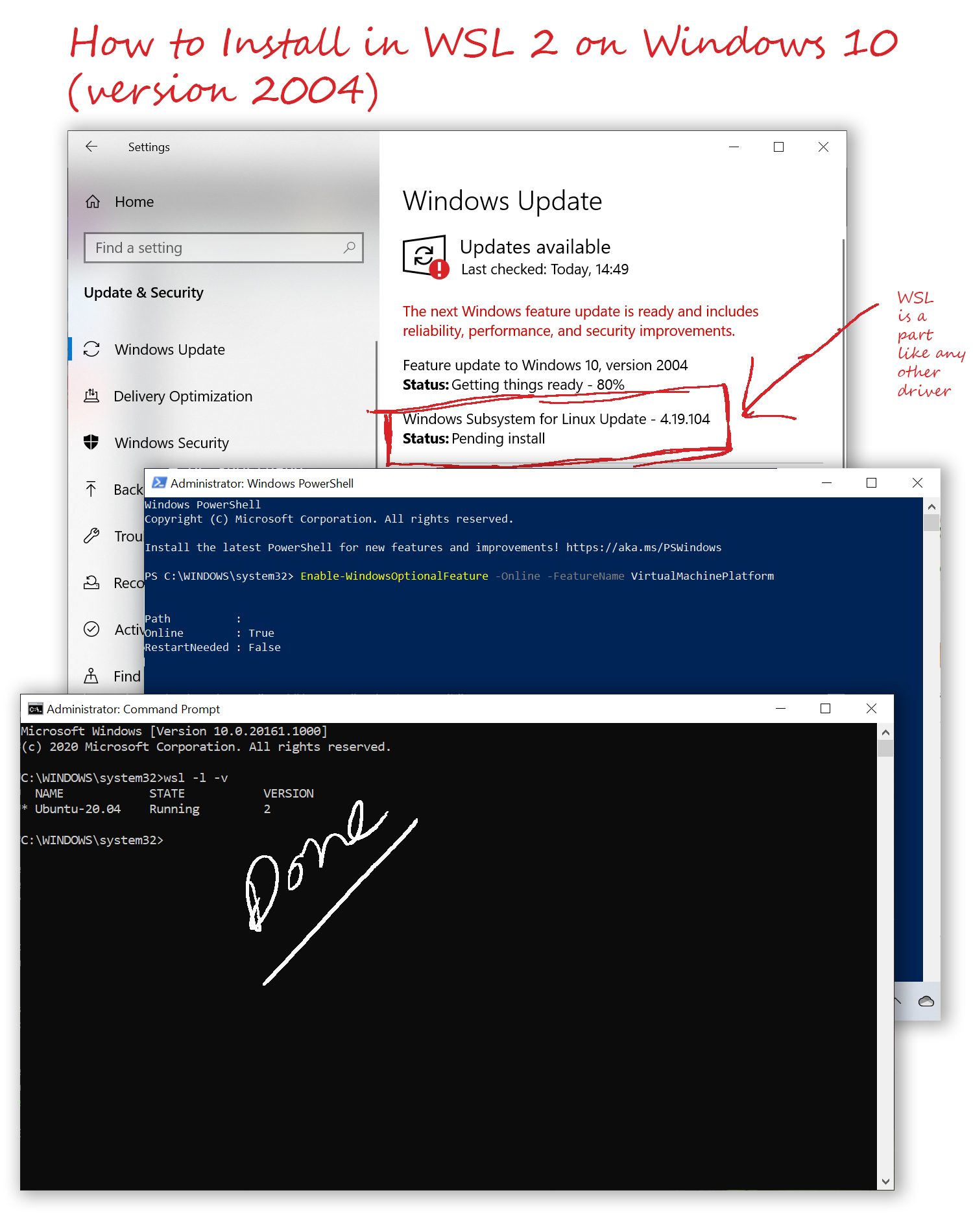 How to Install in WSL 2 on Windows 10 version 2004