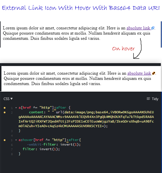 External Link Icon With Hover With Base64 Data URI and CSS