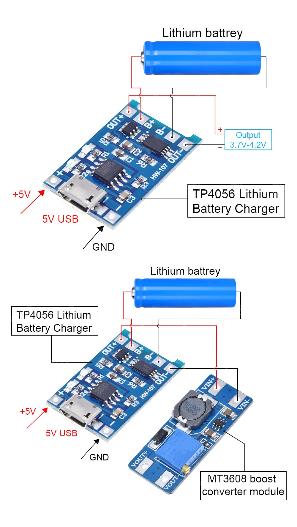DIY Powerbank With TP4056 and MT3608