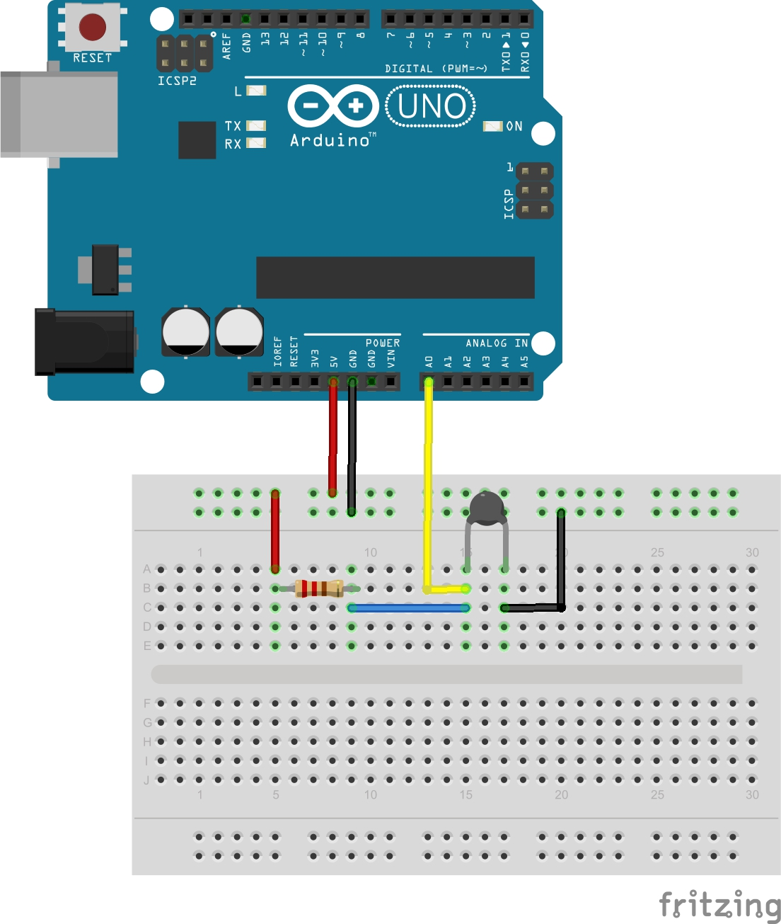 Temperature Sensor Using NTC Thermistor Arduino NTC